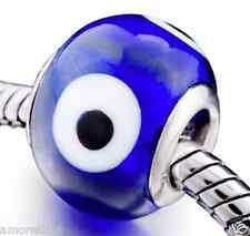 Evil Eye Indigo Blue Murano Glass Bead for Silver European Charm Bracelets Gift
