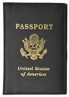 Black Travel Leather Passport Cover Organizer USA Card Case Wallet Men's Women's