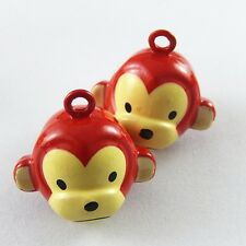 9pcs Red&Yellow Brass Lovely Monkey Bell Pendants Charms Crafts Findings 51924