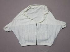 MOTH ANTHROPOLOGIE WOMENS WHITE LINEN BLEND LOOSE FIT ZIP SWEATER JACKET SMALL