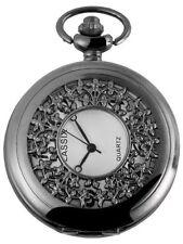 Analoge schwarze Taschenuhren inklusive Kette
