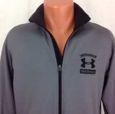 Under Armour Performance Full Zip Warmup Track Jacket Men's Small S Gray ~ EUC