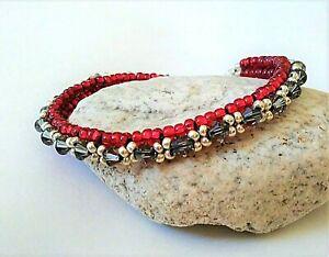 Handmade Black Diamond Crystal Tennis Bracelet