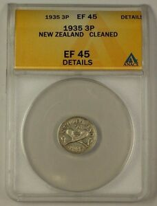 1935 New Zealand 3 Pence 50% Silver Coin 3p ANACS EF-45 Details Cleaned