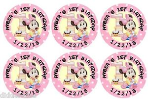 60 Minnie Mouse 1st First Birthday Stickers Lollipop Labels Party Favors 1.5 in