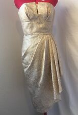 MAGGY LONDON 2 Shiny Gold Animal Print Cocktail Party DRESS Ruched Asymmetrical