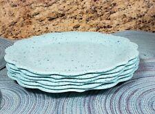 THE PIONEER WOMAN MELAMINE JULIETTE TEAL SPECKLED SET OF 6 DINNER PLATES NEW