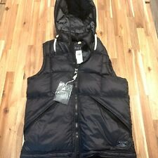 NWT Abercrombie & Fitch Down Puffer Vest Jacket Black L w/ Hood Mens Large NEW