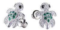 Stainless Steel Safety Screw Back Green/Pink CZ Turtle Baby Girls Kids Earrings