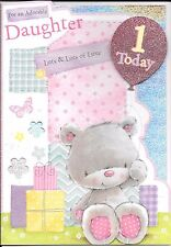 1st BIRTHDAY CARD FOR A DAUGHTER - AGE 1 - PRESENTS,TEDDY,BALLOON - LARGER SIZE