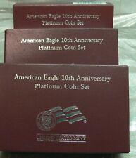 2007 American Eagle 10th Anniversary Platinum Coin Set  3 BOXES /COA  - NO COINS