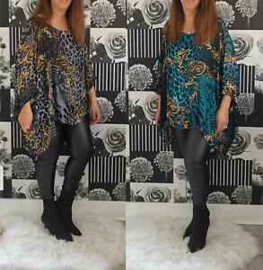 Ladies Womens Italian Lagenlook Oversized Silk Batwing Tunic Top Plus Size 10-18