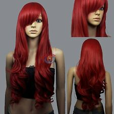 HOT! Dark Red Curly wavy Long Cosplay Wig - 33 inch High Temp - CosplayDNA Wigs