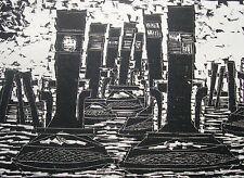 Alwin Carstens 1906-1982 Hamburg / Holzschnitt / konstruktiv / Nachlassstempel
