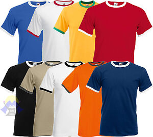 T-shirt RINGER Uomo FRUIT OF THE LOOM Maglia BASEBALL Manica Corta BICOLORE Man