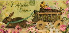 XXL-Ansichtskarte: Osterhase mit Wagen, Glimmerkarte