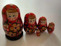 US Russian Wooden Handmade/Painted Nesting Dolls Matryoshka set 5 pc..