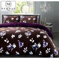 Floral Luxury 100% Egyptian Cotton Reversible Soft Quilt Duvet Cover Bedding Set