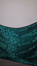 1MBLACK / TEAL GREEN LEAF PRINT COLOURED BURNOUT FLORAL CHIFFON FABRIC 45 WIDE