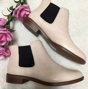 Clark Somerset Ankle Boots Taylor Shine Nude Pink Leather Size 7.5 NEW