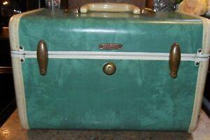 Vintage Green Samsonite Train Travel Case Suitcase Cosmetics Bag 1950's Shwayder
