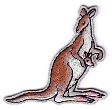 KANGAROO & BABY -  ZOO ANIMALS - Iron On Embroidered Applique Patch
