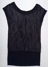 Top Secret Lady's Black Shimmer Front Sleeveless Summer Blouse EU 36