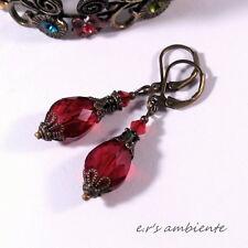 Ohrringe mit GLASSCHLIFFTROPFEN, Bronze-Vintage-Look, Ohrhänger, 0484