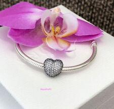 Pandora Pave Open My Heart Clip Charm, Bracelet Bead, Brand New, #791427CZ
