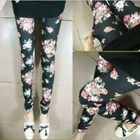 Rose Flower Print Womens Ladies Girls Stretch Cotton Tights Pants New