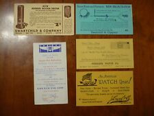 Antique Watchmaker Advertising Paper Swartchild & Co Peerless Hamilton Elgin Lot