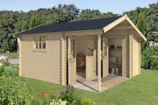 28 mm Gartenhaus Strassburg 1 Gerätehaus Holzhaus Ferienhaus + Anbau 420x450 cm