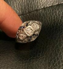 Antique Art Deco European Cut Diamond Blue Sapphire 14K White Gold Cluster Ring
