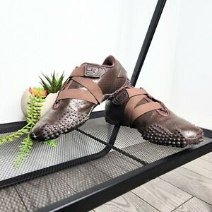 Puma 341953 01 Women's Brown Punched Leather Sneakers Size 8.5