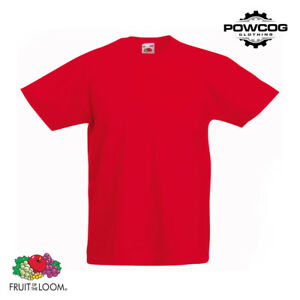 Fruit of the Loom Children Plain Original T-Shirt BOYS GIRLS SCHOOL 21 COLOURS