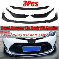 Matte Black Front Bumper Lip Chin Spoiler For 2017-2018 Toyota Corolla CE LE XLE