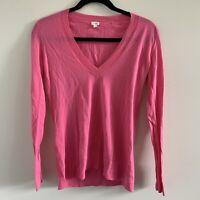 J. Crew Pink Cotton Long Sleeve V-neck Sweater Size XS EUC Thin Stretch