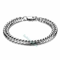 8mm Polished Stainless Steel Curb Link Chain Men's Boy's Bangle Bracelets Cuff