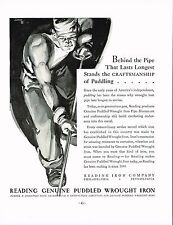 1934 BIG Original Vintage Reading Iron Male Muscle Worker Art Print Ad