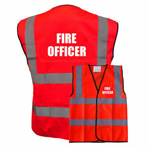 RedHi Vis Safety Vest / WaistcoatPre Printed Fire Officer