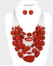 Dark Red Statement Turquoise Multi Layered Bead Chunky Necklace Earring Set