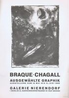 Marc Chagall Galerie Nierendorf Poster Lithograph 10'' x 14'' 1966 Platesigned