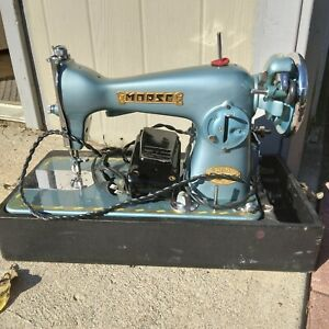Vintage Morse 200 Deluxe Sewing Machine Blue Turquoise With Box Please Read