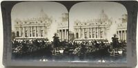 Place San Pierre Roma Vaticano Italia Foto Stereo Stereoview Vintage