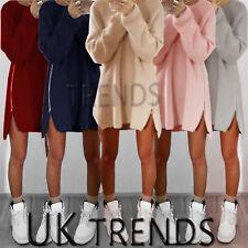 UK Womens Long Sleeve Pullover Sweater Ladies Side Zip Jumper Dress Size 6  - 16 2258b4bef76