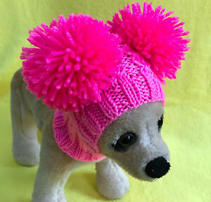 Pet Clothes  Knit Hat Hoodie Snow- Hat With Big Pom Poms for Small Dog XXS XS S