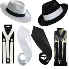 GANGSTER HAT TIE BRACES SET MEN FELT TRILBY AL CAPONE 1920's FANCY DRESS LOT