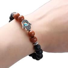 New Black Lava Stone & Brown Goldstone Bracelet &The Hand of Fatima Charm