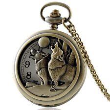 Watch Pendant Quartz Necklace Chain Gift Retro Dual Animal Wolf Antique Pocket