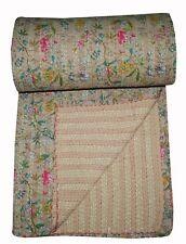 Beige Paradise Indian King Kantha Quilt Bedspread Blanket Bedding Throw Handmade